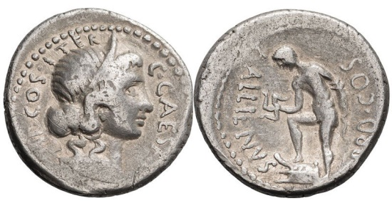Ancient Coins - JULIUS CAESAR, AULUS ALLIENUS, GOVERNOR OF SICILY & MONEYER, 47 BC. (Denarius 3.98g 18.50mm) [NGC FINE 4/5-3/5] [Syd R-7 RARE Sicilian Mint.