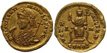 Ancient Coins - VALENTINIAN III, 425-455 AD.  (AV Solidus 4.42g 21mm 6h) Rome Mint  Struck 435 AD.  EXTREMELY FINE  (RIC R-5, EXTREMELY RARE)
