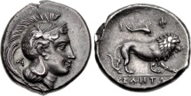 Ancient Coins - LUCANIA, VELIA Circa 300-280 BC. (Stater AR 7.52g 21mm 3h) [89 Year Provenance] A wonderfully centered & beautifully struck specimen.  CHOICE VF