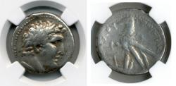"Ancient Coins - PHOENICIA, Tyre. 126/5 BC-AD 67/8. (AR SHEKEL 14.03g 26.4mm) NGC CHOICE FINE 4/5-4/5 ""30 pieces of silver."""