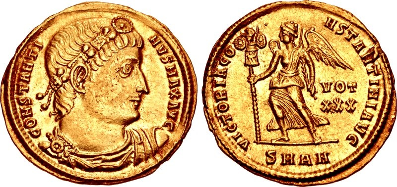"""Ancient Coins - CONSTANTINE I, THE GREAT, 307/310-337 AD.  (AV Solidus 4.44g  22mm  11h) [NGC AU 5/5-4/5]  """"TRICENNALIA ISSUE"""" Antioch mint (Struck 335-336 AD.)"""