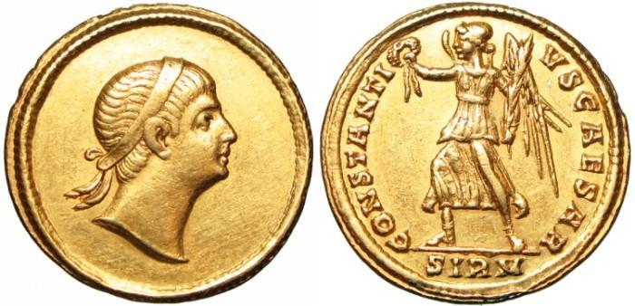 "Ancient Coins - CONSTANTIUS II  as CAESAR    324-337 AD    ""EYES TO HEAVEN""  VERY RARE & BOLD      Choice GVF"