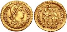Ancient Coins - GRATIAN  367-383 AD. (AV Solidus 4.49g 21mm) Treveri Mint  (Gratian & Valentinian II seated)  GOOD VF