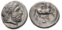 Ancient Coins - MACEDONIA,  PHILIP II, Pella Mint 323-315 BC. (AR Tetradrachm 14.26g 25mm) MINT STATE/BOLD CLASSIC HELLENISTIC STYLE