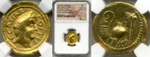 Ancient Coins - JULIUS CAESAR, 49-44 BC. (AV AUREUS 7.83g 21.13mm 10h) [ NGC  VF 5/5-2/5] Lustrous river patina with matte surfaces, & perfect centering on a broad flan.
