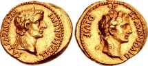 Ancient Coins - TIBERIUS WITH DIVUS AUGUSTUS,14-37 AD. (AV 7.69g 21mm) Lugdunum 14-16 AD. EXTREMELY FINE (Calico R.2 VERY RARE RIC R3)
