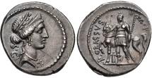 Ancient Coins - P. LICINIUS CRASSUS M. f., 55 BC. (AR Denarius 4.04g 19.5mm) Rome Mint  iridescent surfaces, CHOICE EF