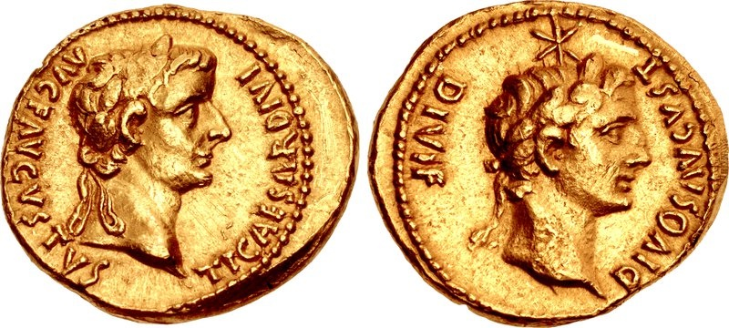 Ancient Coins - TIBERIUS WITH DIVUS AUGUSTUS,14-37 AD. (AV 7.69g 21mm) Lugdunum 14-16 AD. CHOICE EXTREMELY FINE   (Calico R.2  RIC R3) Same coin sold TRITON AUCTION 1/14/20 for $33K
