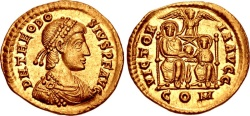 Ancient Coins - THEODOSIUS I, THE GREAT,  379-395 AD.  (AV Solidus 4.41g 21mm 6h) Mediolanum (Milan) mint  Struck 380-382 AD.  Extremely Fine and Lustrous.