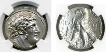 "Ancient Coins - PHOENICIA, Tyre. 126/5 BC-AD 67/8. (AR SHEKEL 14.19g 28.6mm) NGC AU 5/5-3/5 ""30 pieces of silver."""