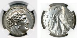 "Ancient Coins - PHOENICIA, Tyre. 126/5 BC-AD 67/8. (AR SHEKEL 14.19g 28.6mm) [NGC AU 5/5-3/5] ""30 pieces of silver."""