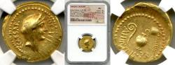 Ancient Coins - JULIUS CAESAR, 49-44 BC. (AV AUREUS 7.99g 20.14mm 10h) [NGC AU 4/5-4/5] A stylistic, early issue of the type.