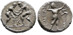 Ancient Coins - PISIDIA, SELGE,  325-250 BC. (AR Stater 9.32g   23mm  12h) Beautifully centered in high relief.  EF