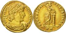 Ancient Coins - CONSTANTINE I, THE GREAT, 307/310-337 AD. (AV Solidus 4.5g 20.6mm) Trier Mint, Struck 320 AD. Extremely fine & rare type with golden and florescent highlights around the devices.