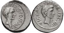 Ancient Coins - LEPIDUS & OCTAVIAN, 42 BC. (Denarius 3.89g 18.2mm)VERY RARE, Excellent portrait of Lepidus & early portrait of Octavian, 15 yrs. before he became Augustus. EF