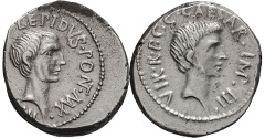 Ancient Coins - LEPIDUS & OCTAVIAN, 42 BC. (Denarius 3.89g 18.2mm)VERY RARE, Excellent portrait of Lepidus & early portrait of Octavian, 15 yrs. before he became Augustus. EF