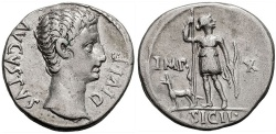 Ancient Coins - AUGUSTUS, 27 BC-14 AD.  Lugdunum Mint (Lyon)  Struck 15-12 BC. (Denarius  3.65g 19mm)   CHOICE VF