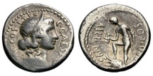 Ancient Coins - JULIUS CAESAR, AULUS ALLIENUS as GOVERNOR OF SICILY and MONEYER, 47 BC. (Denarius 3.97g 18.5mm) [Syd R-7, A GREAT RARITY!] Sicilian Mint. A tint of desert toning. VF