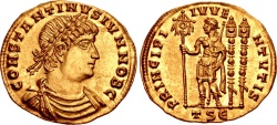 Ancient Coins - CONSTANTINE II, As Caesar, 316-337 AD. (AV Solidus (4.47g  21mm   6h) Thessalonica mint (Struck 335 AD.) [Extremely Rare, 1 in CoinArchives] Extremely Fine