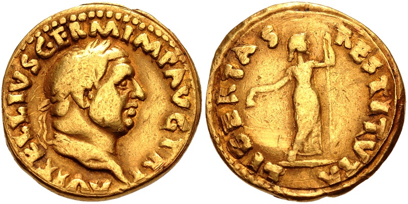 Ancient Coins - VITELLIUS, 69 AD. (AV Aureus 6.89g 19mm 6h) Rome Mint, Very rare - RIC R3  [Struck circa late April-December 69 AD.]  52 yrs. provenance. VF