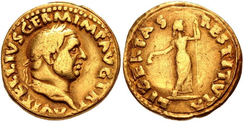 Ancient Coins - VITELLIUS, 69 AD. (AV Aureus 6.89g 19mm 6h) Rome Mint, Very rare - RIC R3  [Struck circa late April-December 69 AD.]  51 yrs. provenance. VF