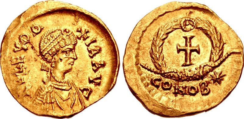 Ancient Coins - LICINIA EUDOXIA, AUGUSTA, 439-490 AD. (AV Tremissis (1.40g 14mm 6h) [EXTREMELY RARE RIC R-4] Constantinople mint  Struck 439-450/5 AD. EF