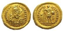 "Ancient Coins - THEODOSIUS II, 402-450 AD. (AV Solidus 4.32g 20mm) ""GLOR ORVIS TERRARI""  MILITARY REVERSE  (RIC R-1) EF"