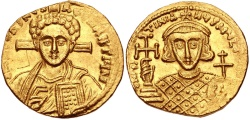 Ancient Coins - JUSTINIAN II, 2ND REIGN, 705-711 AD. (AV Solidus 4.33g 18mm 6h) Scarce Western Issue portrait of Christ.  Lustrous GOOD VF