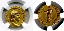 Ancient Coins - NERO, 54-68 AD. (AV Aureus 7.28g 18mm) [NGC CHOICE EXTREMELY FINE 4/5-3/5] Good high-relief.
