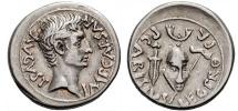 Ancient Coins - AUGUSTUS, 27 BC-14 AD. (AR Denarius 3.98g 19.3mm) Emerita Augusta, Struck 25-23 BC. Early portrait. [Very Rare] Toned EF