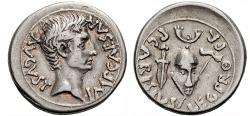 Ancient Coins - AUGUSTUS, 27 BC-14 AD. (AR Denarius 3.98g 19.3mm) Emerita Augusta, Struck 25-23 BC. HORNED HELMET REVERSE. Early portrait. [Very Rare] Toned EF
