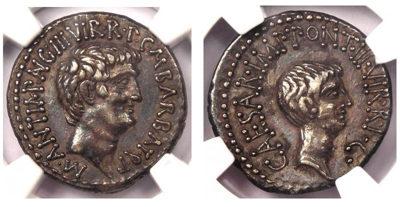 Ancient Coins - MARK ANTONY AND OCTAVIAN, 41 BC.(AR 3.93g 12h) Ephesus mint  Iridescent Highlights/Excellent Silver Quality (NGC 5/5 - 4/5) Choice EF. Rare this nice.