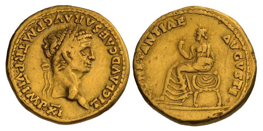 Ancient Coins - CLAUDIUS, 41-54 AD. (AV Aureus 7.85g  19mm) Lugdunum Mint 46-7 AD.  [NGC VF 5/5-1/5]