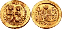 Ancient Coins - JUSTIN I AND JUSTINIAN I, 527 AD.(AV 4.25g 20.3mm) Constantinople Mint [Struck April-Aug. 527 AD.]  THE HIGHEST RARITY, EF AND AN EXCEPTIONAL STRIKE. DYNASTIC ISSUE!