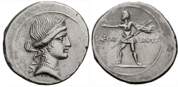Ancient Coins - THE TRIUMVIRS, OCTAVIAN AUGUSTUS, 27 BC-14 AD. Struck 32-31 BC. (AR Denarius 3.56g 21.4mm) [Venus, the Roman god of love & beauty]  Near Mint State.