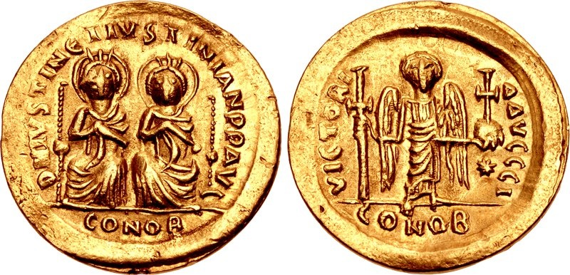 Ancient Coins - JUSTIN I & JUSTINIAN I, 527 AD. (AV 4.14g 20.3mm)  Constantinople Mint April-Aug. 527 AD. EXTREMELY FINE