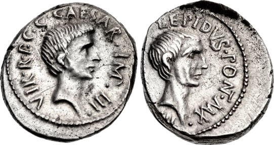Ancient Coins - LEPIDUS & OCTAVIAN, 42 BC. (Denarius 3.89g 18.2mm) VERY RARE, [NGC Choice Extremely Fine 4/5 - 3/5]  Early portrait of Octavian, 15 yrs. before he became Augustus.