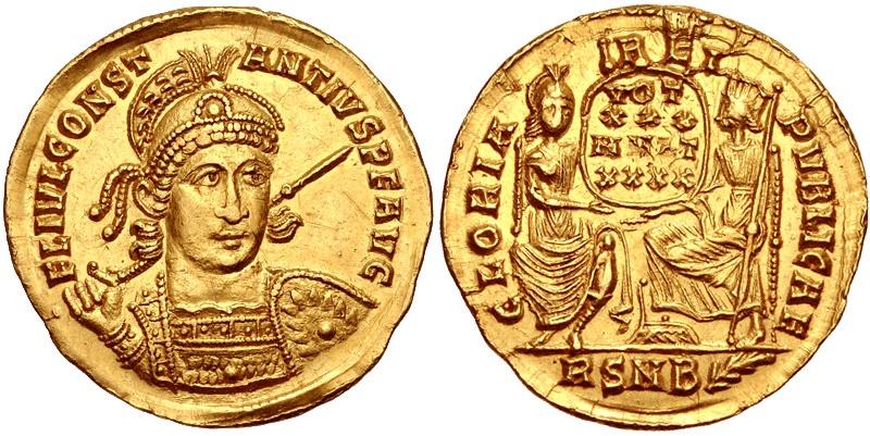 Ancient Coins - CONSTANTIUS II, 337-361 AD. (AV 4.4g 21mm) Rome 355-357 AD. (Rare B Mint Mark & first 3/4 facing bust. star motif on shield) Razor-sharp detail, near mint.  EF