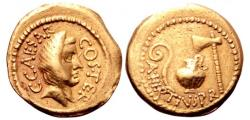 Ancient Coins - JULIUS CAESAR as DICTATOR, 49-44 BC. (AV AUREUS 8.13g 20.5mm 11h) Rome Mint, Early 46 BC. Choice Very Fine