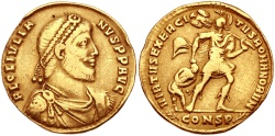 "Ancient Coins - JULIAN II, ""THE APOSTATE"", 360-363 AD. (AV Solidus 4.0g 20mm 12h) Constantinople Mint, Struck 361-363 AD. ( RIC R-2) VF"