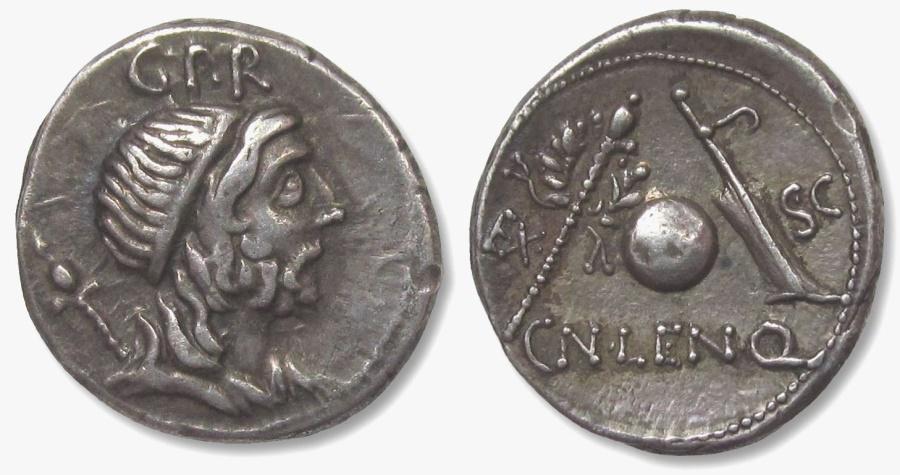 "Ancient Coins - CN. CORNELIUS LENTULUS MARCELLINUS, 76-75 BC. (AR Denarius 3.9g 19mm) ""GENIUS POPULI ROMANI"" Lustous patina/perfect centering/vitually as struck/high relief,  EXTREMELY FINE"