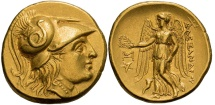 Ancient Coins - MACEDONIA - ALEXANDER III The Great, 336-323 BC. Abydus Mint  Circa 323-317 BC. (AV Stater 8.51g  19.3mm) MINT STATE with perfect centering & strike, lustrous