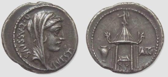 Ancient Coins - Q. CASSIUS LONGINUS, 55 BC. (AR Denarius 3.81g 19mm) Rome Mint