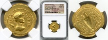 Ancient Coins - JULIUS CAESAR, 49-44 BC. (AV AUREUS 8.16g  21mm)  [CHOICE VF NGC GRADED 5/5-3/5] large flan & lustrous