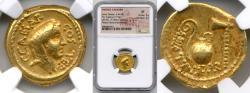 Ancient Coins - JULIUS CAESAR, 49-44 BC. (AV AUREUS 7.77g 20mm) [NGC XF 5/5-4/5] Lifetime issue Original luster, some find residue, full legend, good strike & centering
