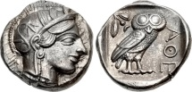 Ancient Coins - ATTICA, ATHENS. Circa 454-404 BC. (AR Tetradrachm 17.17g  24.5mm  1h) CHOICE EF AND TONED. WELL-CENTERED WITH FULL CREST.