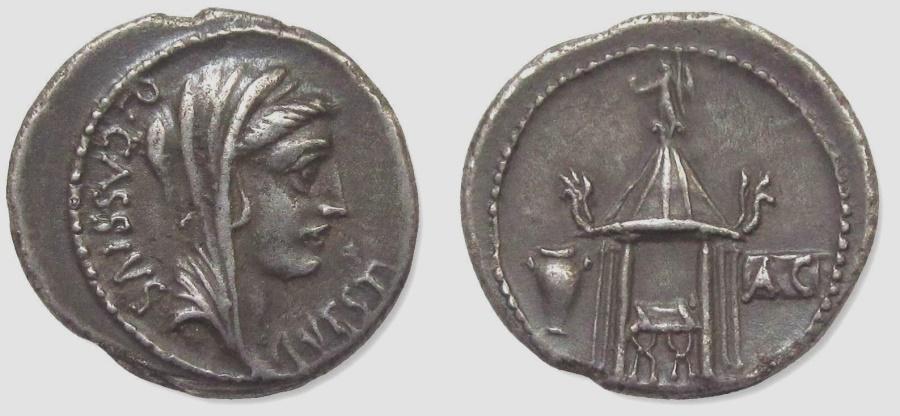 """Ancient Coins - Q. CASSIUS LONGINUS, 55 BC. (AR Denarius 3.81g 19mm) Rome Mint  """"TEMPLE OF VESTA""""  EXTREMELY FINE"""