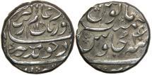 "World Coins - INDIA, MUGHAL, Aurangzeb, 1658-1707, AR Rupee, Tatta, AH 1108/ RY 40. ""Like the Shining Full Moon""."