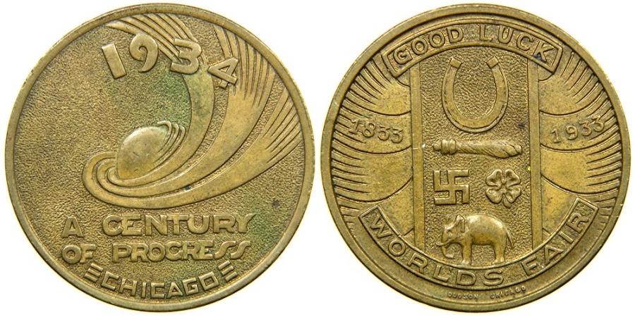 1933 world fair good luck coin