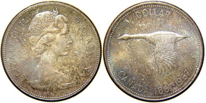 World Coins - CANADA, Elizabeth II, 1952-date, AR PL Dollar, 1967. Confederation Centennial. Toned UNC.